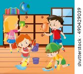 boys and girls cleaning room... | Shutterstock .eps vector #490429039
