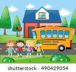 four students going home by... | Shutterstock .eps vector #490429054