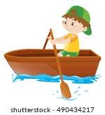 boy rowing in a wooden boat | Shutterstock .eps vector #490434217