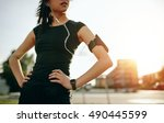 cropped shot of young woman... | Shutterstock . vector #490445599
