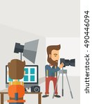 a photography studio with a... | Shutterstock . vector #490446094