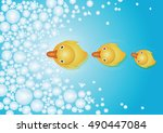 drops of water and ducks ... | Shutterstock .eps vector #490447084