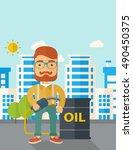 a caucasian businessman... | Shutterstock . vector #490450375