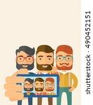 a three happy men taking a... | Shutterstock . vector #490452151