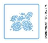 gooseberry icon. blue frame... | Shutterstock .eps vector #490452475