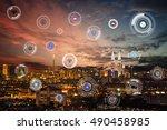 smart city and wireless... | Shutterstock . vector #490458985