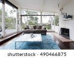 mid century modern living room... | Shutterstock . vector #490466875