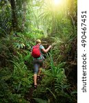 woman traveler with backpack... | Shutterstock . vector #490467451