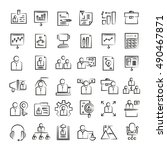 office and business icons  hand ... | Shutterstock .eps vector #490467871