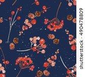 watercolor seamless christmas... | Shutterstock . vector #490478809