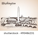 washington dc cityscape  ... | Shutterstock .eps vector #490486231