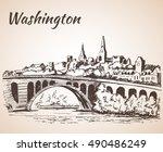 key bridge potomac river... | Shutterstock .eps vector #490486249