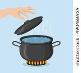 cooking pot on stove with water ... | Shutterstock .eps vector #490486939