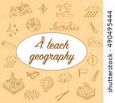 teacher's day. postcard... | Shutterstock .eps vector #490495444