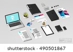 isometric branding office mock... | Shutterstock .eps vector #490501867