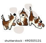 funny cartoon dog. vector... | Shutterstock .eps vector #490505131