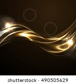 golden liquid smooth waves on... | Shutterstock .eps vector #490505629