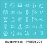 set vector line icons with open ... | Shutterstock .eps vector #490506205