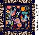 paradise garden. silk scarf... | Shutterstock .eps vector #490512775