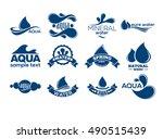 blue logos set. label for... | Shutterstock .eps vector #490515439