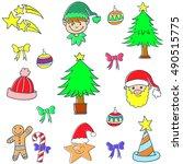 cute color christmas set doodle ... | Shutterstock .eps vector #490515775