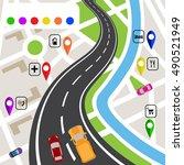 road infographics. winding road ... | Shutterstock . vector #490521949