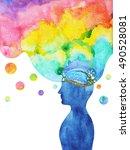 human head  chakra power ... | Shutterstock . vector #490528081