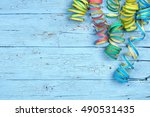 colorful spiral streamers... | Shutterstock . vector #490531435