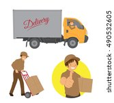 deliveryman and delivery truck... | Shutterstock .eps vector #490532605