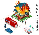firefighters extinguish a fire... | Shutterstock .eps vector #490538329