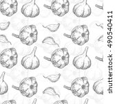 seamless pattern with garlic.... | Shutterstock .eps vector #490540411