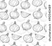 seamless pattern with onions.... | Shutterstock .eps vector #490540489