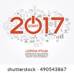2017 text design on creative... | Shutterstock .eps vector #490543867