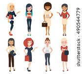 women in office clothes.... | Shutterstock .eps vector #490544779