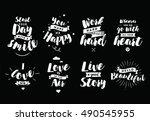 inspirational quotes set.... | Shutterstock .eps vector #490545955