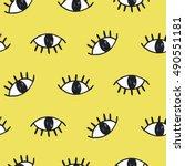 vector hand drawn eye doodles... | Shutterstock .eps vector #490551181