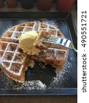 cinnamon waffle with ice cream... | Shutterstock . vector #490551721