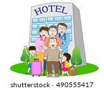 the family who stays at the... | Shutterstock .eps vector #490555417