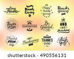 thanksgiving day typography set.... | Shutterstock .eps vector #490556131