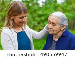 Picture Of An Old Lady Taking A ...
