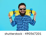 young hipster bearded man with... | Shutterstock . vector #490567201