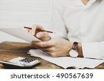businessman viewing financial...   Shutterstock . vector #490567639