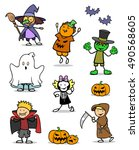 cartoon set of kids wearing... | Shutterstock . vector #490568605