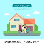 happy family in the yard of... | Shutterstock .eps vector #490571974