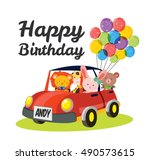 cute animal birthday invitation ... | Shutterstock .eps vector #490573615