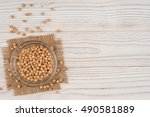 chickpeas in a glass bowl on... | Shutterstock . vector #490581889