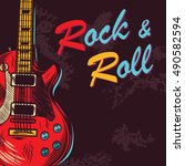 vintage rock and roll. music... | Shutterstock .eps vector #490582594