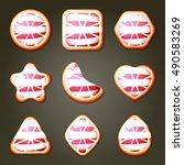 set of pink grapefruit candies... | Shutterstock .eps vector #490583269