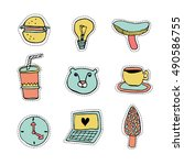 set of cute stickers  patches.... | Shutterstock .eps vector #490586755
