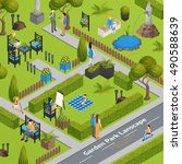 garden park landscape with... | Shutterstock .eps vector #490588639